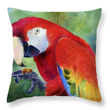 Throw Pillow featuring the painting Ruby Having Lunch by Roger Rockefeller