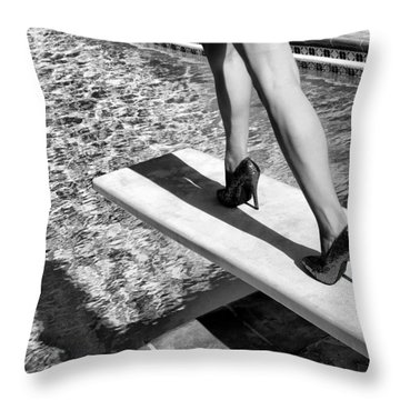 Ruby Heels Bw Palm Springs Throw Pillow
