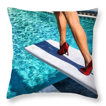 Ruby Heels Ready For Take-off Palm Springs Throw Pillow by William Dey