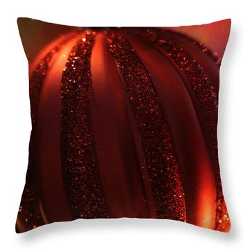 Throw Pillow featuring the photograph Ruby Red Christmas by Linda Shafer