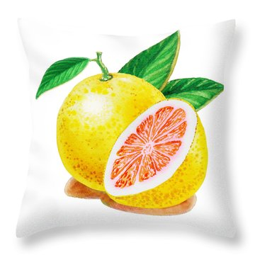 Ruby Red Grapefruit Throw Pillow by Irina Sztukowski