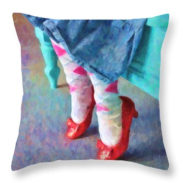 Ruby Red Slippers Throw Pillow by Kenny Francis