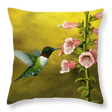 Ruby Throated Hummingbird And Foxglove Throw Pillow