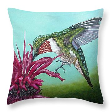 Throw Pillow featuring the painting Ruby-throated Hummingbird by Fran Brooks