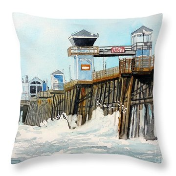 Ruby's Oceanside Pier Throw Pillow by Tom Riggs