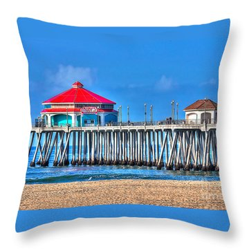 Ruby's Surf City Diner - Huntington Beach Pier Throw Pillow