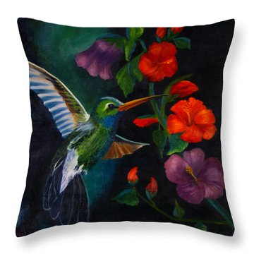 Rubythroated Humming Bird And Hibiscus Throw Pillow