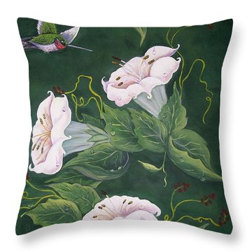 Throw Pillow featuring the painting Hummingbird And Lilies by Sharon Duguay