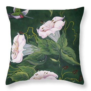 Hummingbird And Lilies Throw Pillow by Sharon Duguay