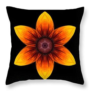 Rudbeckia I Flower Mandala Throw Pillow by David J Bookbinder