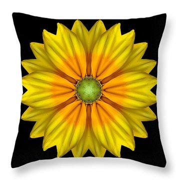 Rudbeckia Prairie Sun I Flower Mandala Throw Pillow by David J Bookbinder