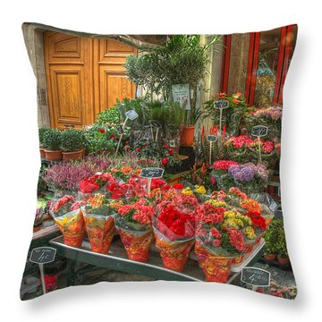 Rue Cler Flower Shop Throw Pillow