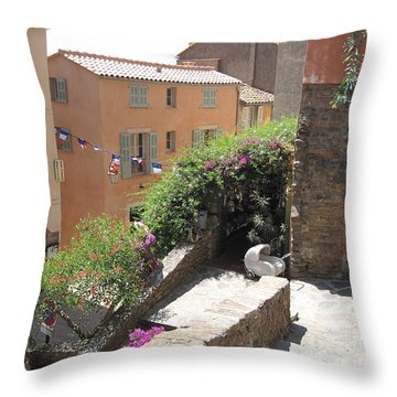 Rue De La Rose Throw Pillow