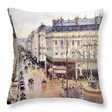 Rue Saint Honore Afternoon Rain Effect Throw Pillow by Camille Pissarro