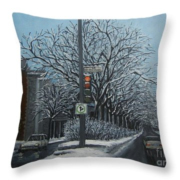Rue St Jacques Throw Pillow by Reb Frost