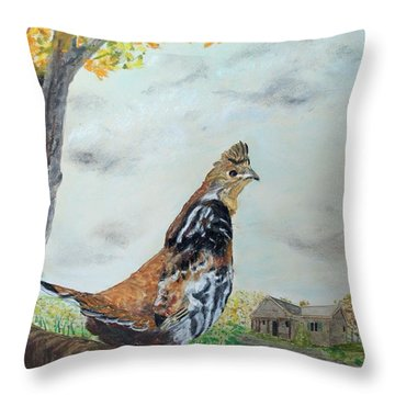 Throw Pillow featuring the painting Ruffed Grouse On Alert by Jack G  Brauer