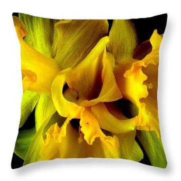 Ruffled Daffodils Throw Pillow by Marianne Dow