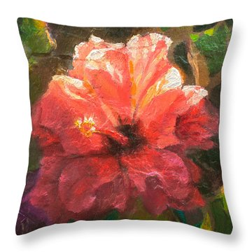 Ruffled Light Double Hibiscus Flower Throw Pillow