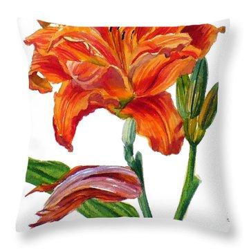 Ruffled Orange Daylily - Hemerocallis Throw Pillow