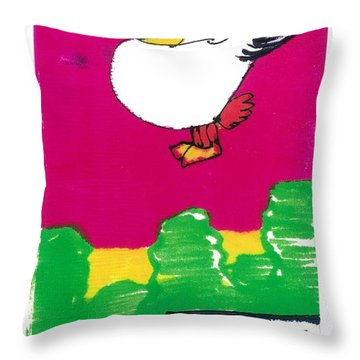 Throw Pillow featuring the drawing Ruffy The Rooster by Don Koester