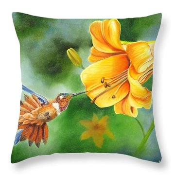 Rufous Hummer And The Lily Throw Pillow
