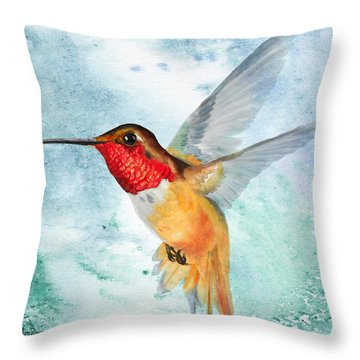 Da199 Rufous Humming Bird By Daniel Adams Throw Pillow