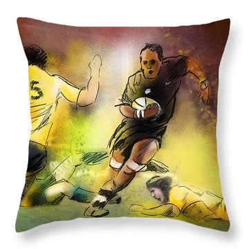 Rugby 01 Throw Pillow by Miki De Goodaboom