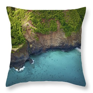 Rugged Kauai Coastline Throw Pillow by Kicka Witte