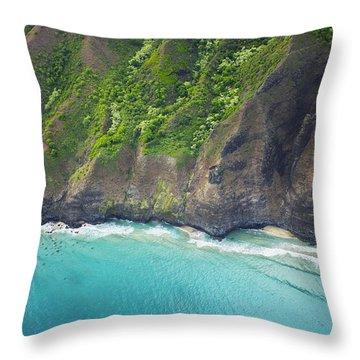 Rugged Na Pali Coast Throw Pillow by Kicka Witte