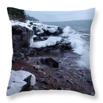 Rugged Shore Winter Throw Pillow by James Peterson