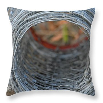 Rugged Wire Fencing Throw Pillow by Patricia Twardzik