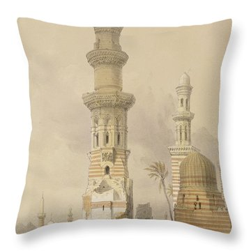 Ruined Mosques In The Desert Throw Pillow by David Roberts
