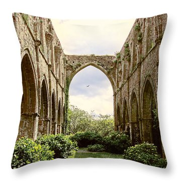 Ruins Abbaye De Beauport Paimpol Bretagne Throw Pillow by Menega Sabidussi