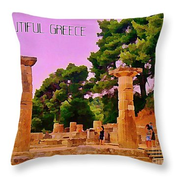 Ruins At Olympus Greece Throw Pillow by John Malone