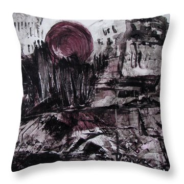Ruins In Shades Of Gray  Throw Pillow