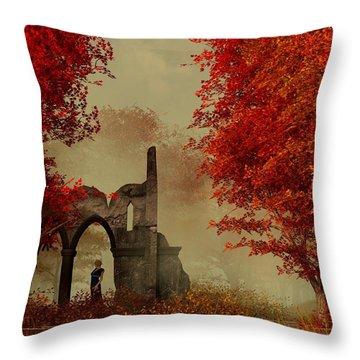 Ruins In Autumn Fog Throw Pillow by Daniel Eskridge
