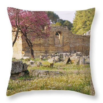 Ruins Of A Building, Ancient Olympia Throw Pillow