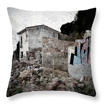 Ruins Of An Abandoned Farm House Throw Pillow by RicardMN Photography