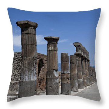 Throw Pillow featuring the photograph Ruins Of Ancient Roman Columns In Pompeii by Ivete Basso Photography
