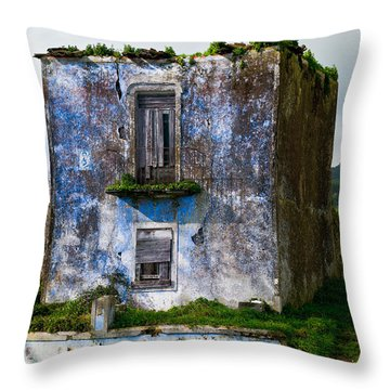 Ruins Of House Painted Blue Throw Pillow