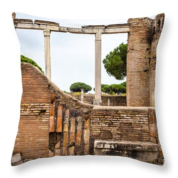 Ruins Of Ostia Antica Throw Pillow