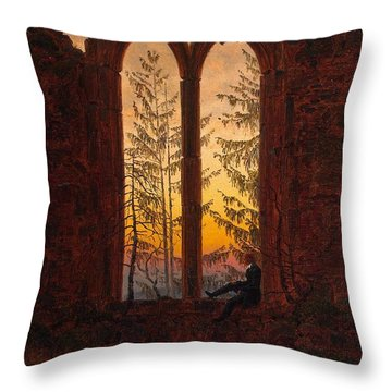 Ruins Of The Oybin Monastery The Dreamer Throw Pillow by Philip Ralley