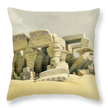 Ruins Of The Temple Of Kom Ombo Throw Pillow by David Roberts