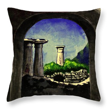 Throw Pillow featuring the painting Ruins by Salman Ravish