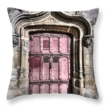 Ruins With Red Door Throw Pillow