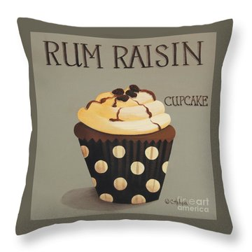 Rum Raisin Cupcake Throw Pillow by Catherine Holman