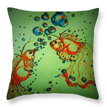 Rumble In The Pond Throw Pillow