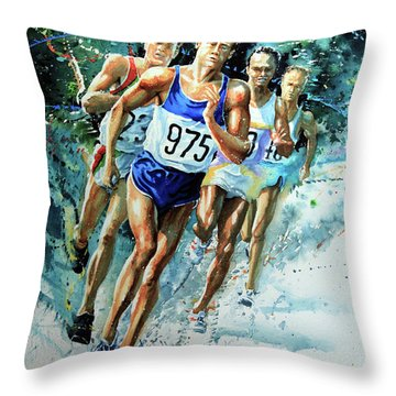 Run For Gold Throw Pillow by Hanne Lore Koehler