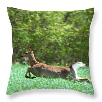 Run Forest Run Throw Pillow by Neal Eslinger