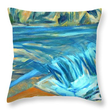 Run River Run Over Rocks In The Sun Throw Pillow by Betty Pieper